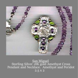 Amethyst and Peridot Sterling & 18K Gold Cross